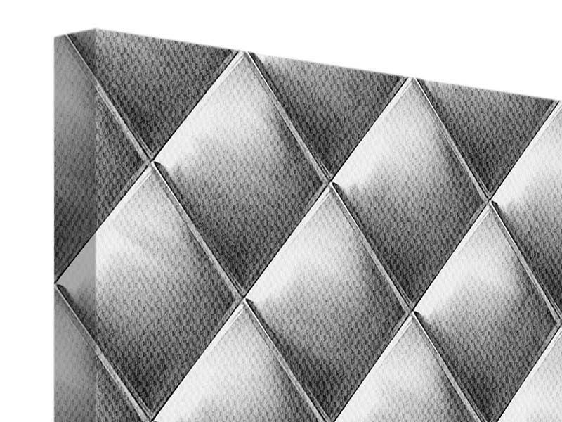 Leinwandbild 9-teilig 3D-Rauten Silbergrau