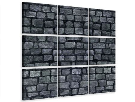 Leinwandbild 9-teilig Graue Steinmauer