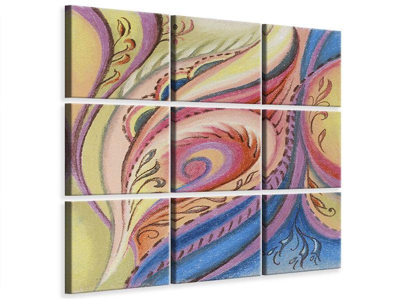 Leinwandbild 9-teilig Paisley-Malerei