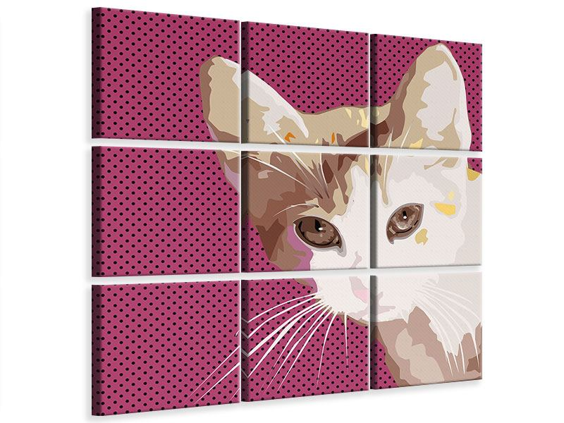 Leinwandbild 9-teilig Pop Art Katze