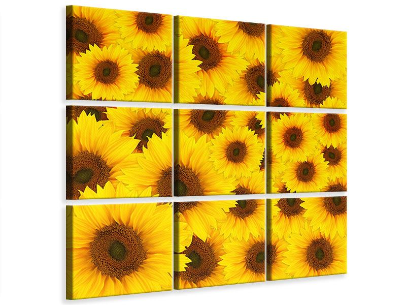 Leinwandbild 9-teilig Ein Strauss Sonnenblumen