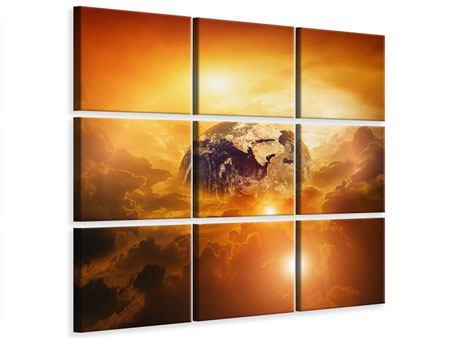 Leinwandbild 9-teilig Mystischer Planet Erde
