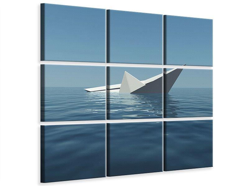Leinwandbild 9-teilig Papierschiffchen