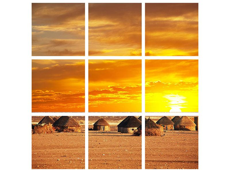 Leinwandbild 9-teilig Afrikanisches Dorf