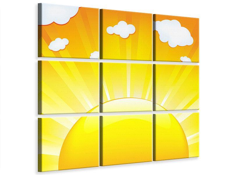 Leinwandbild 9-teilig Die Sonne geht auf