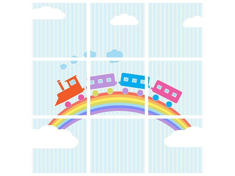 Leinwandbild 9-teilig Der Regenbogenzug
