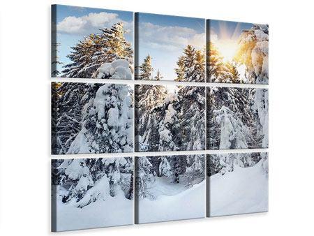 Leinwandbild 9-teilig Tannen im Schnee
