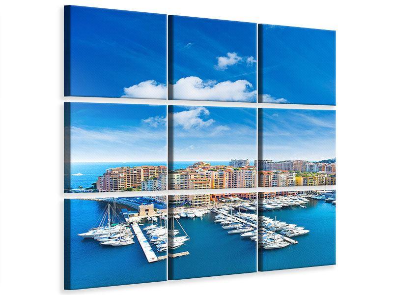 Leinwandbild 9-teilig Skyline Panoramablick Jachthafen Monaco