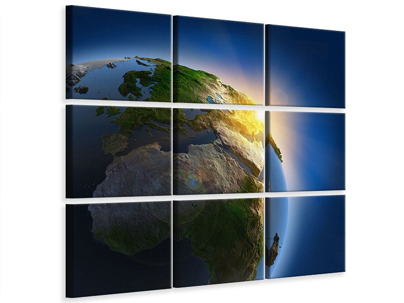 Leinwandbild 9-teilig Sonne und Erde