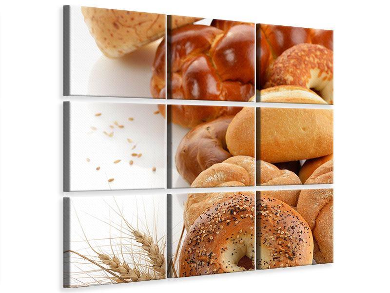 Leinwandbild 9-teilig Frühstücksbrötchen