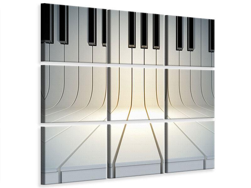 Leinwandbild 9-teilig Klaviertasten