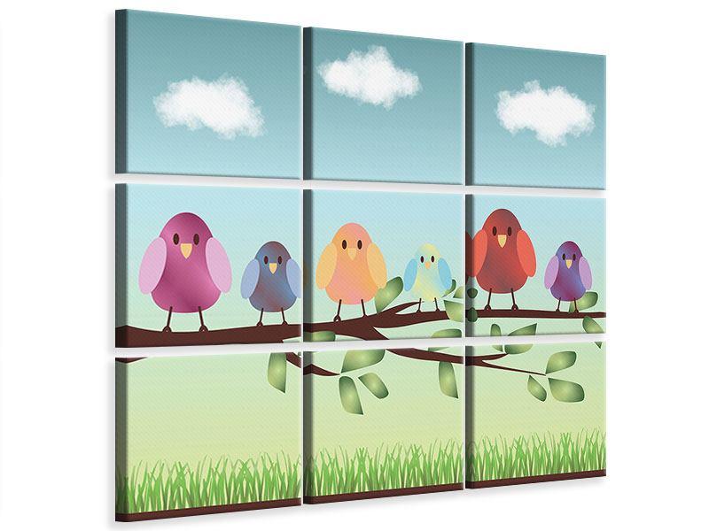 Leinwandbild 9-teilig Alle Vögel sind schon da