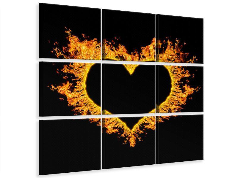 Leinwandbild 9-teilig Herzflamme