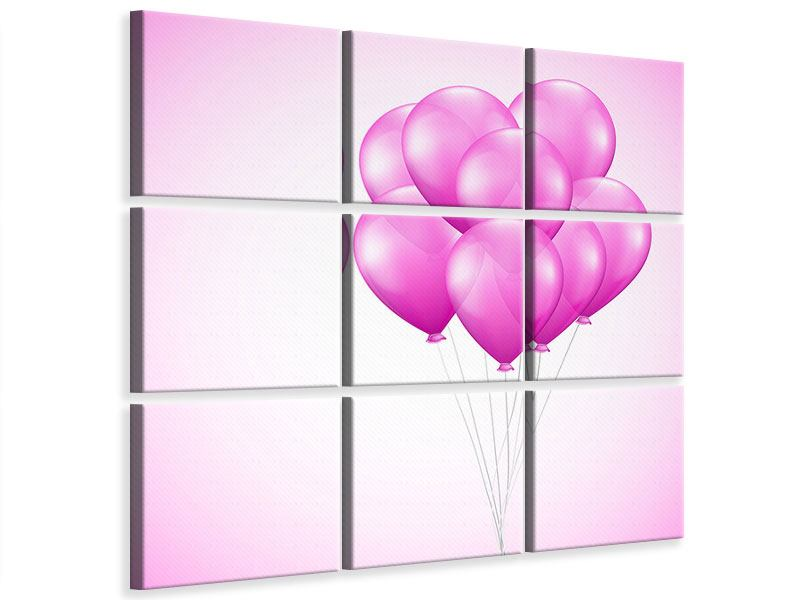 Leinwandbild 9-teilig Rosarote Luftballons