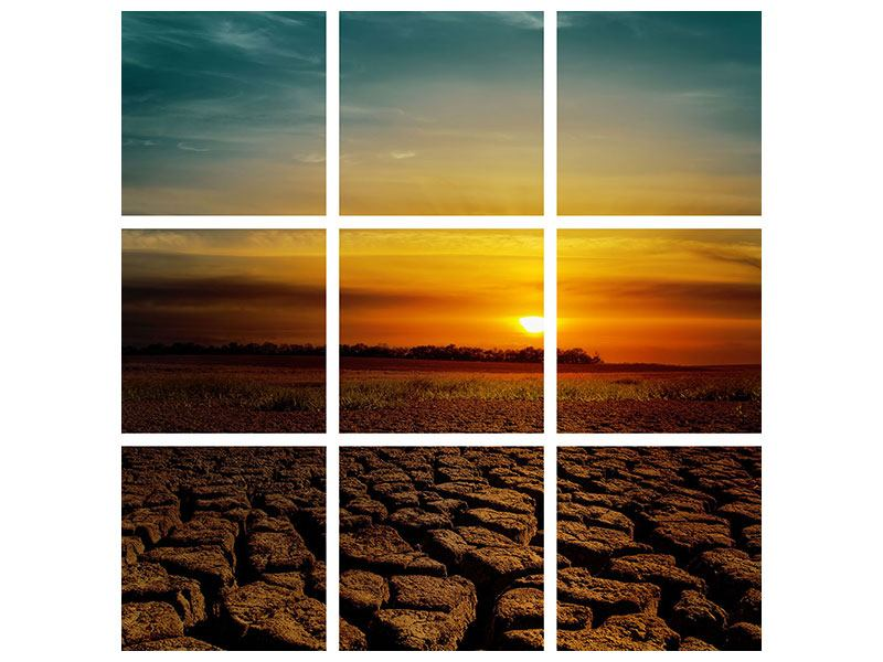 Leinwandbild 9-teilig Afrikas Dürre