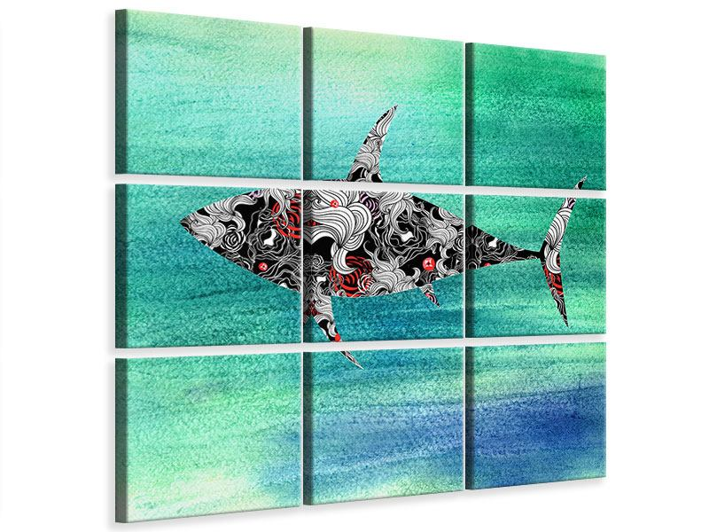 Leinwandbild 9-teilig Haifisch-Ornament