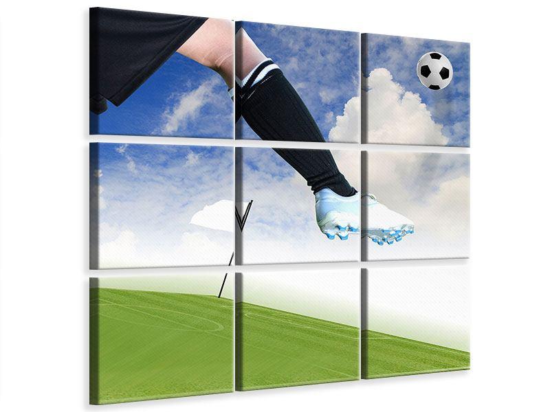 Leinwandbild 9-teilig Fussball-Kicker