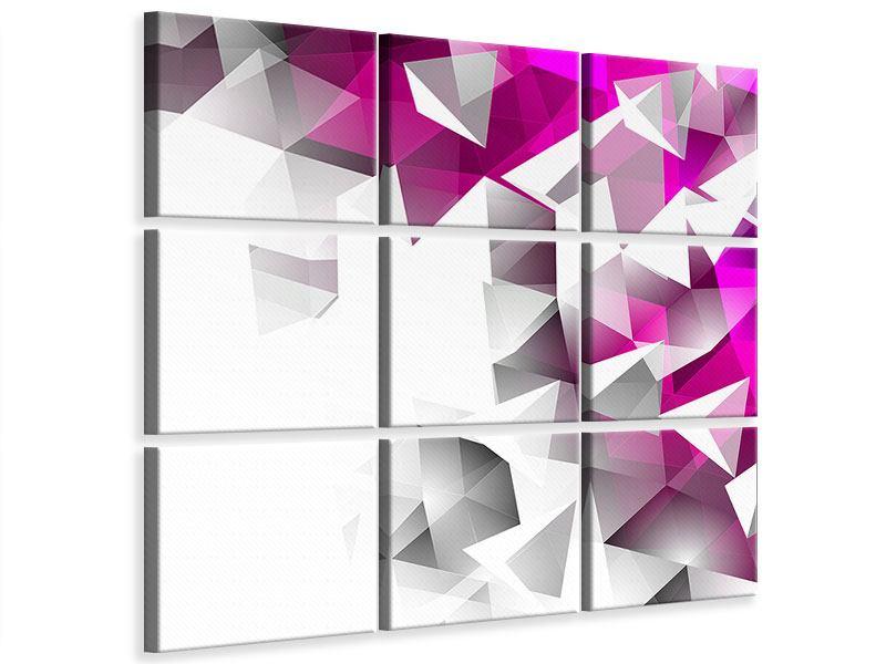 Leinwandbild 9-teilig 3D-Kristalle Pink