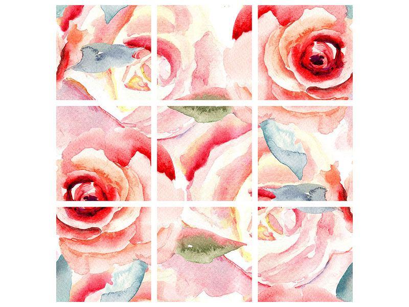 Leinwandbild 9-teilig Rosengemälde