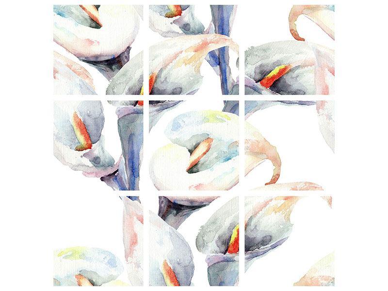 Leinwandbild 9-teilig Lilien Aquarell