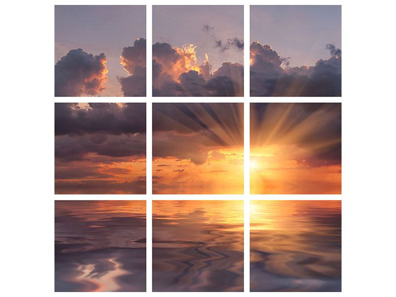 Leinwandbild 9-teilig Packender Sonnenuntergang
