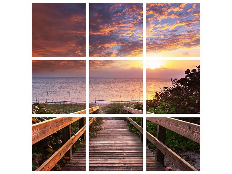 Leinwandbild 9-teilig Sonnenuntergang