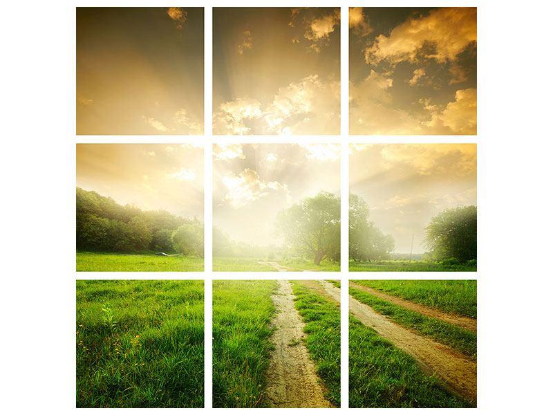 Leinwandbild 9-teilig Mystischer Sonnenuntergang