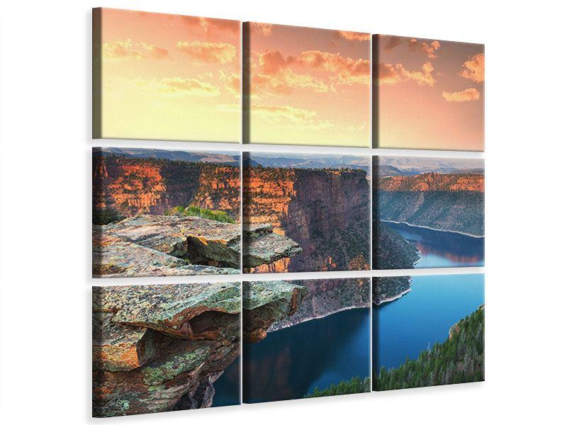 Leinwandbild 9-teilig Sonnenuntergang Rocky Mountains