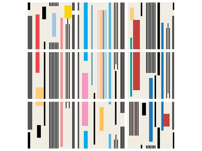 Leinwandbild 9-teilig Grafische Streifen