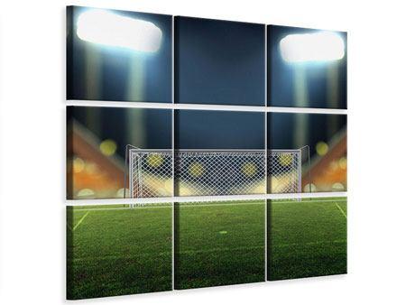 Leinwandbild 9-teilig Fussballtor