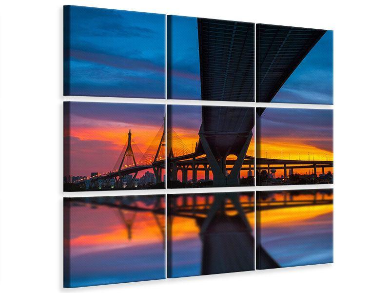 Leinwandbild 9-teilig Bhumiboll-Brücke bei Sonnenuntergang