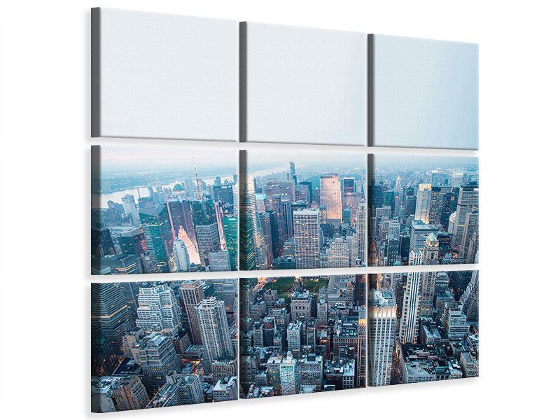 Leinwandbild 9-teilig Skyline Manhattan in der Abenddämmerung