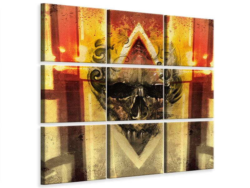 Leinwandbild 9-teilig Kunstvoller Totenkopf