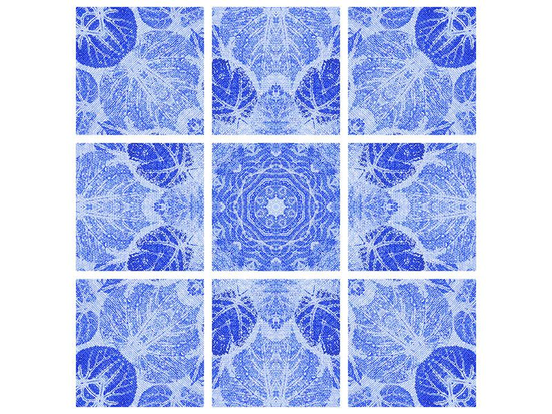 Leinwandbild 9-teilig Blaues Ornament