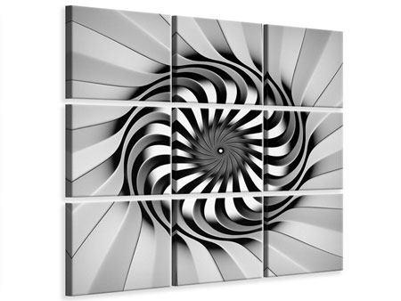 Leinwandbild 9-teilig Abstrakte Spirale