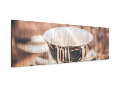 Metallic-Bild Panorama Der Kaffee ist fertig