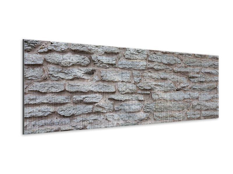 Metallic-Bild Panorama Steinmauer