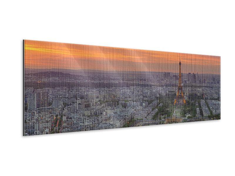 Metallic-Bild Panorama Skyline Paris bei Sonnenuntergang