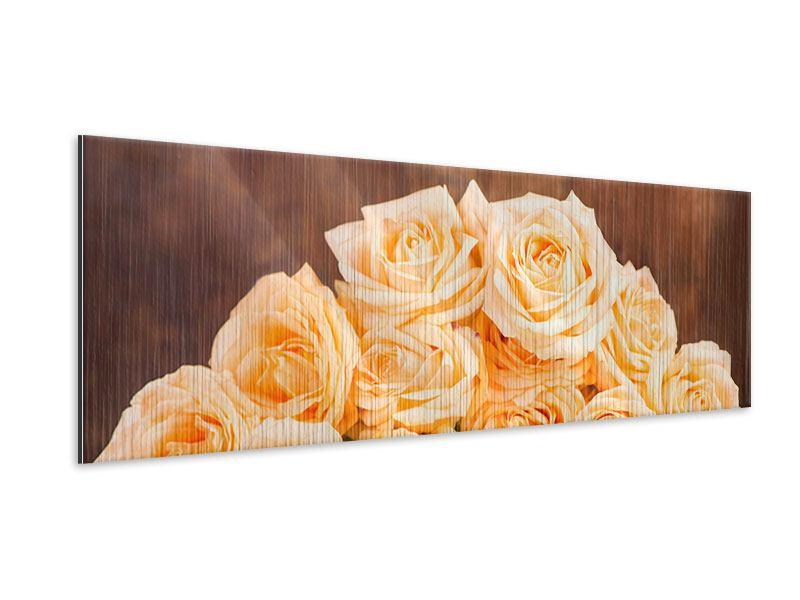 Metallic-Bild Panorama Die Rosenzeit