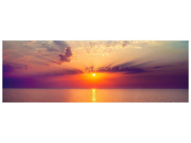 Metallic-Bild Panorama Mystischer Sonnenaufgang