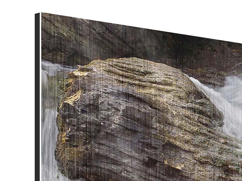 Metallic-Bild Panorama Wasserfall XXL