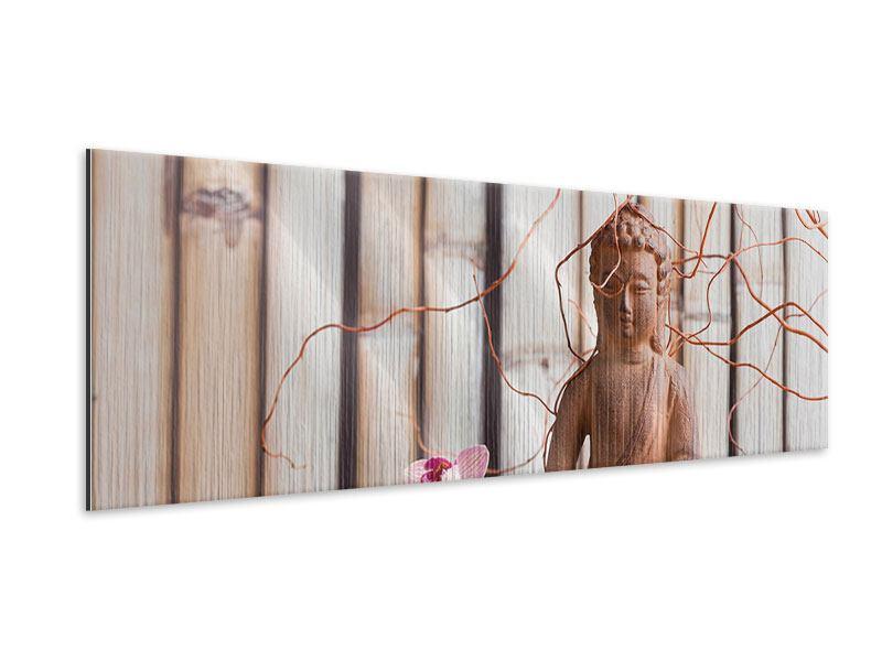 Metallic-Bild Panorama Buddha + Wellness