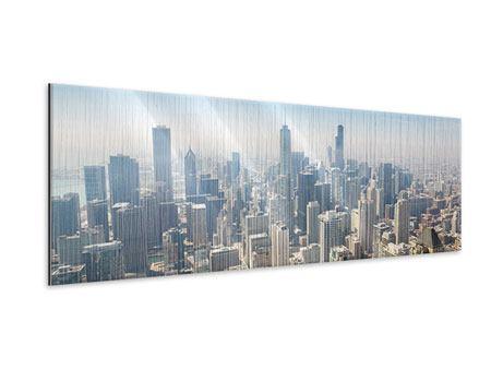 Metallic-Bild Panorama Wolkenkratzer Chicago
