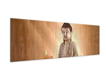 Metallic-Bild Panorama Buddha in der Meditation