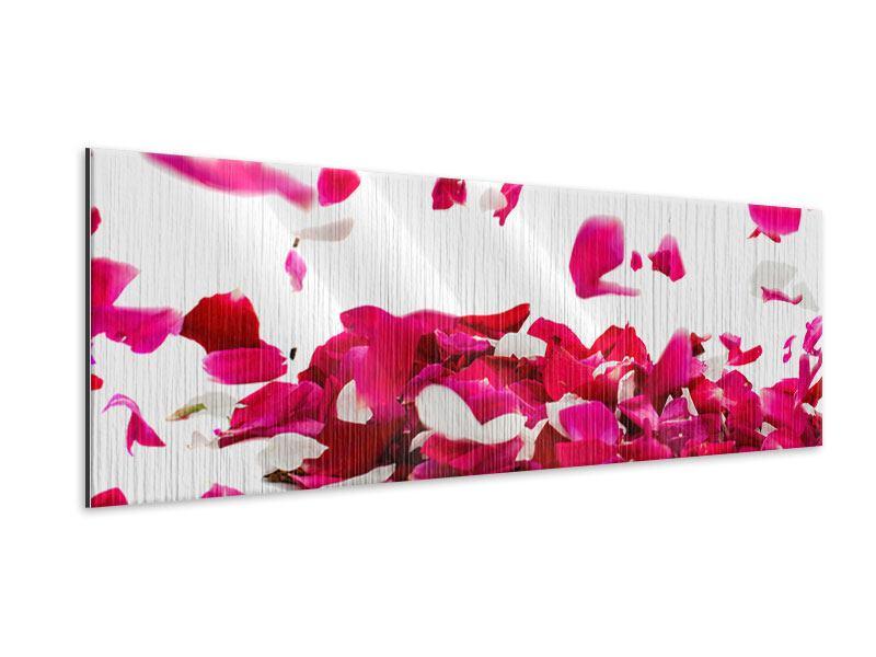 Metallic-Bild Panorama Für mich soll`s rote Rosen regnen