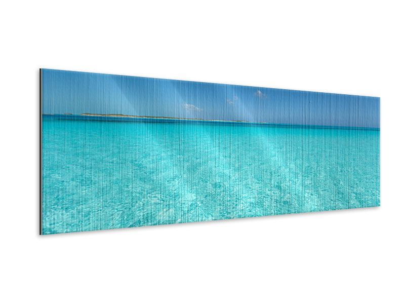 Metallic-Bild Panorama Das Meer und Jules Verne