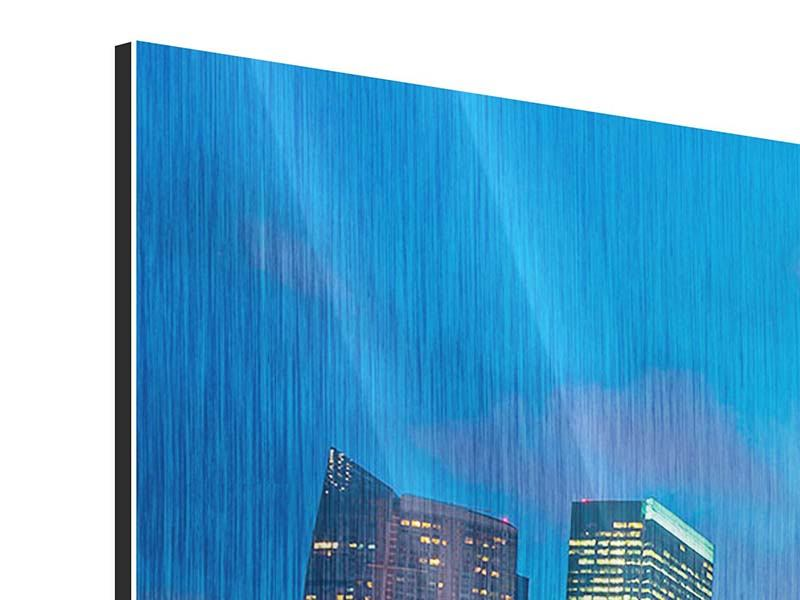 Metallic-Bild Panorama Skyline Singapur im Lichtermeer