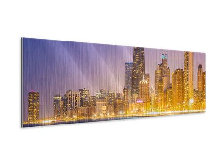 Metallic-Bild Panorama Skyline Chicago in der Nacht