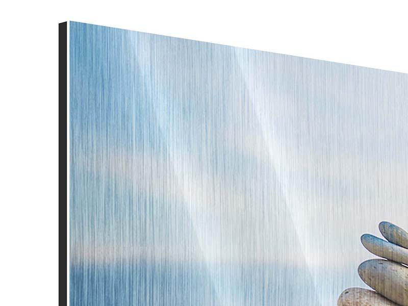 Metallic-Bild Panorama Drei Steinstapel