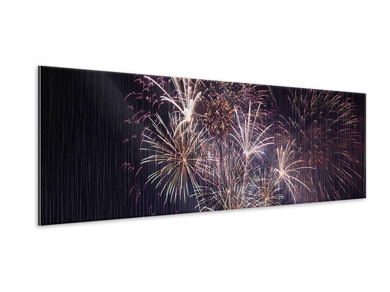 Metallic-Bild Panorama Feuerwerk